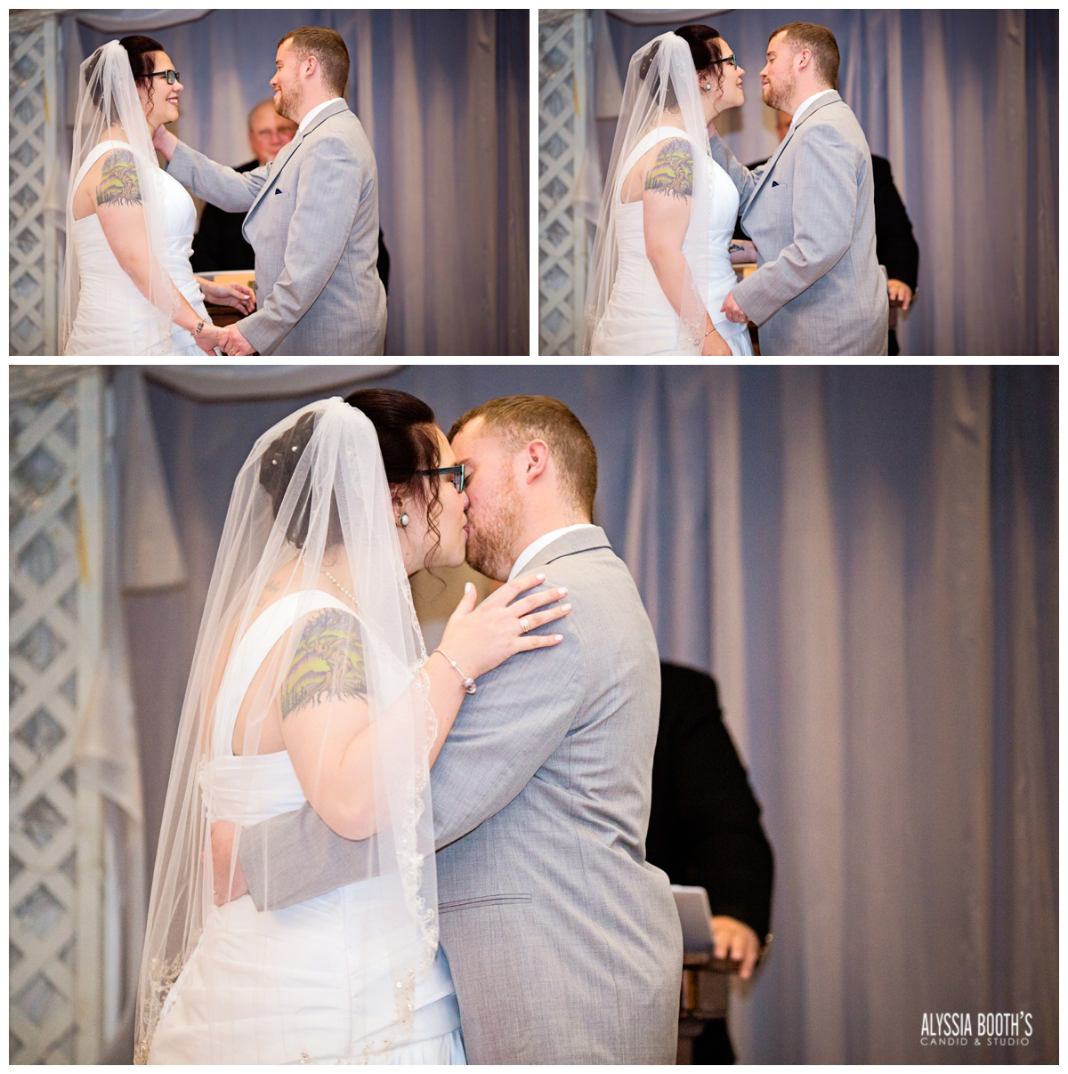 Kiss | Marisa & Garrett 10.23.15 | Wedding at the Lawton Community Center | Kalamazoo Mi | Alyssia Booth's Candid & Studio