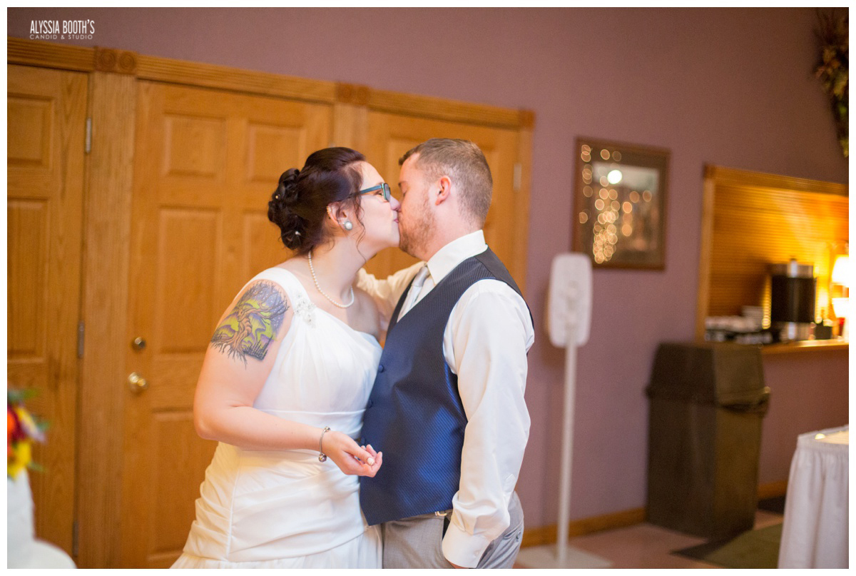Frosting Kiss | Marisa & Garrett 10.23.15 | Wedding at the Lawton Community Center | Kalamazoo Mi | Alyssia Booth's Candid & Studio