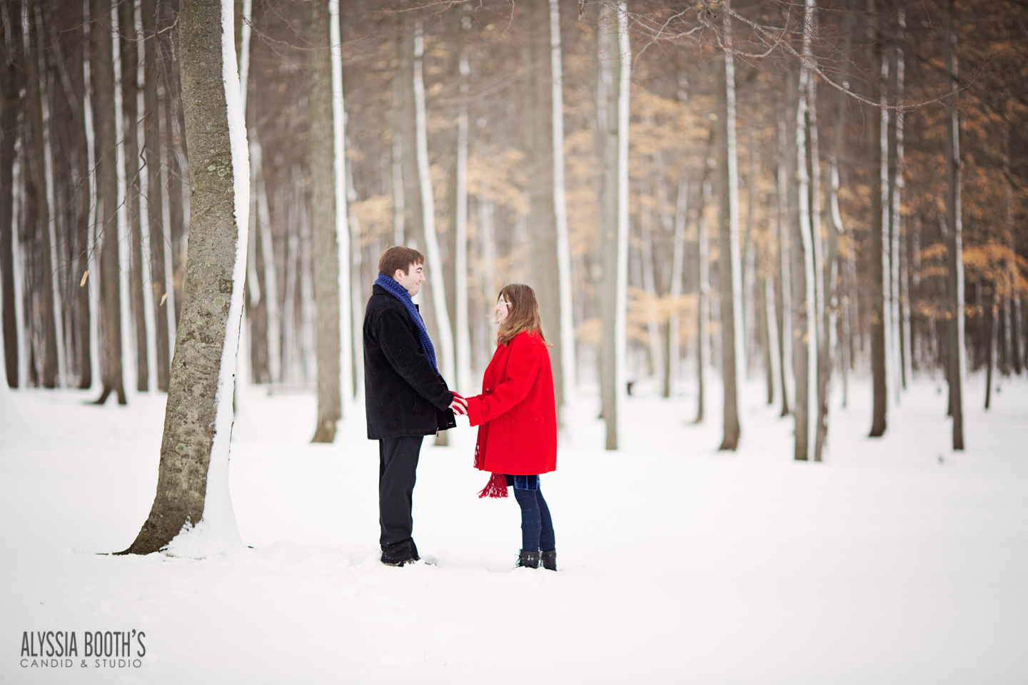 Winter Woods Engagement | Alyssia Booth's Candid & Studio | Michigan Photographer