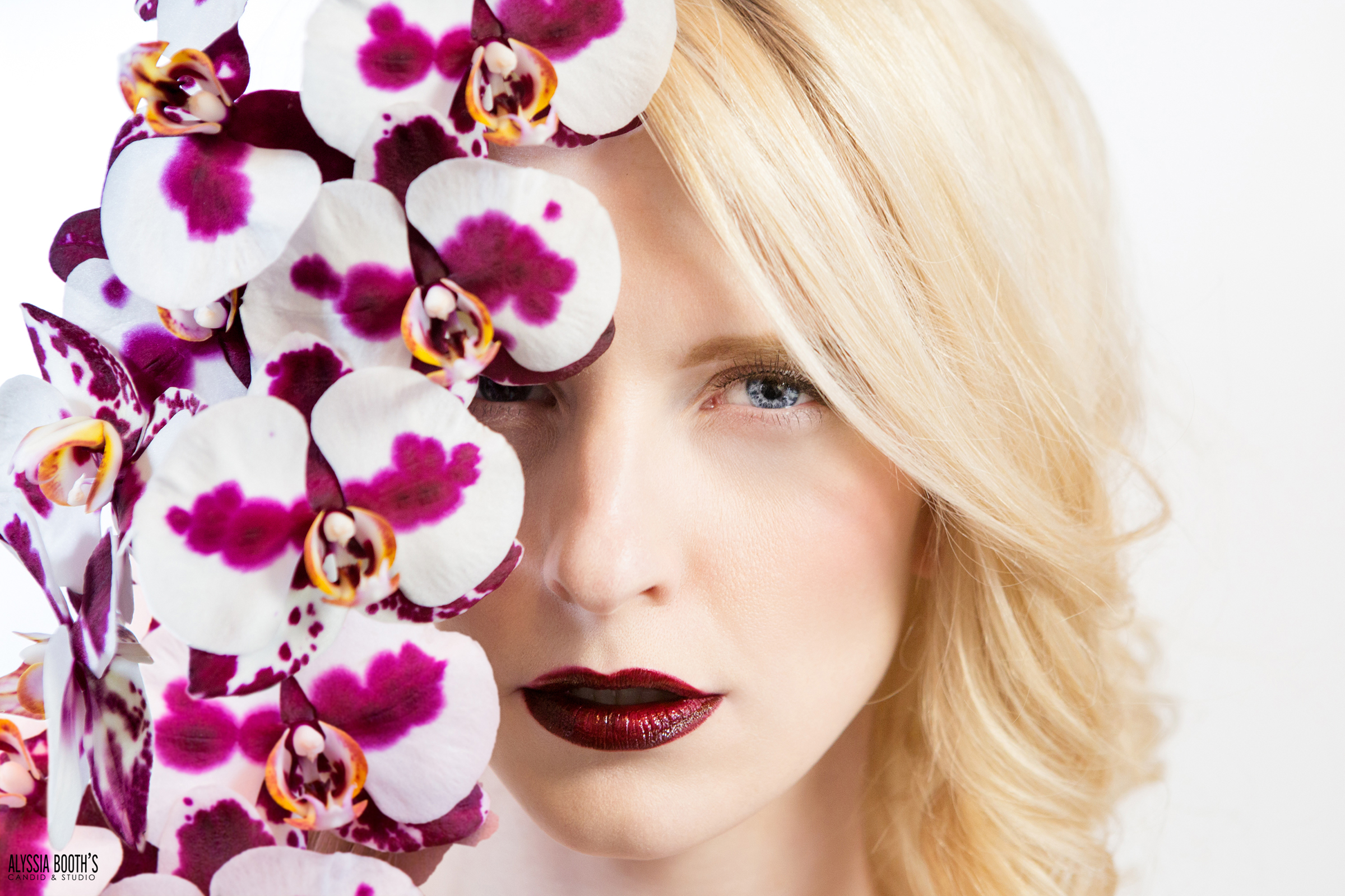 Makeup Test | Orchid Makeup | Maroon Red Lip | Dramatic Flowers Makeup | Lashes | Amy Lewis Makeup | Alyssia Booth's Candid & Studio | Test Shoot