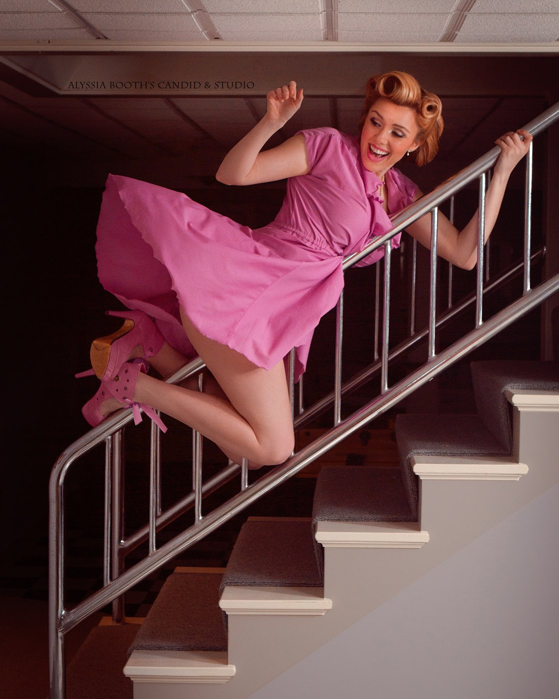 Vintage Stair Rail | Slide | Coke Bar Shoots | Pinup | Alyssia Booth's Candid & Studio | East Lansing Photographer
