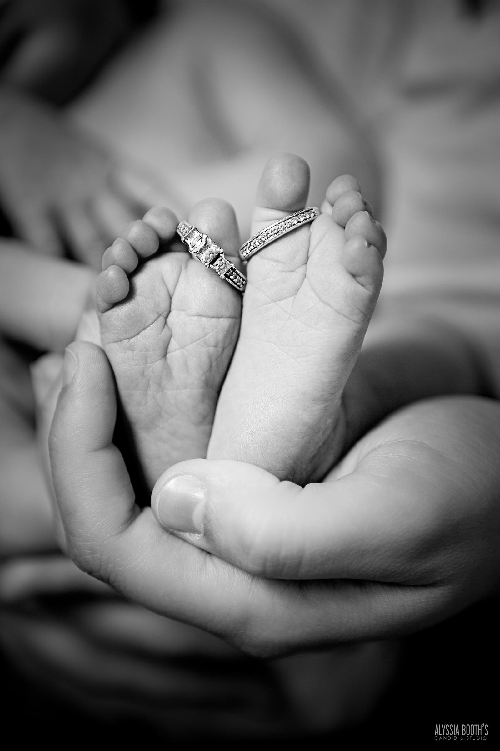 Baby Feet & Wedding Ring | Alyssia Booth's Candid & Studio | Newborn Photography | www.abcandidstudio.com