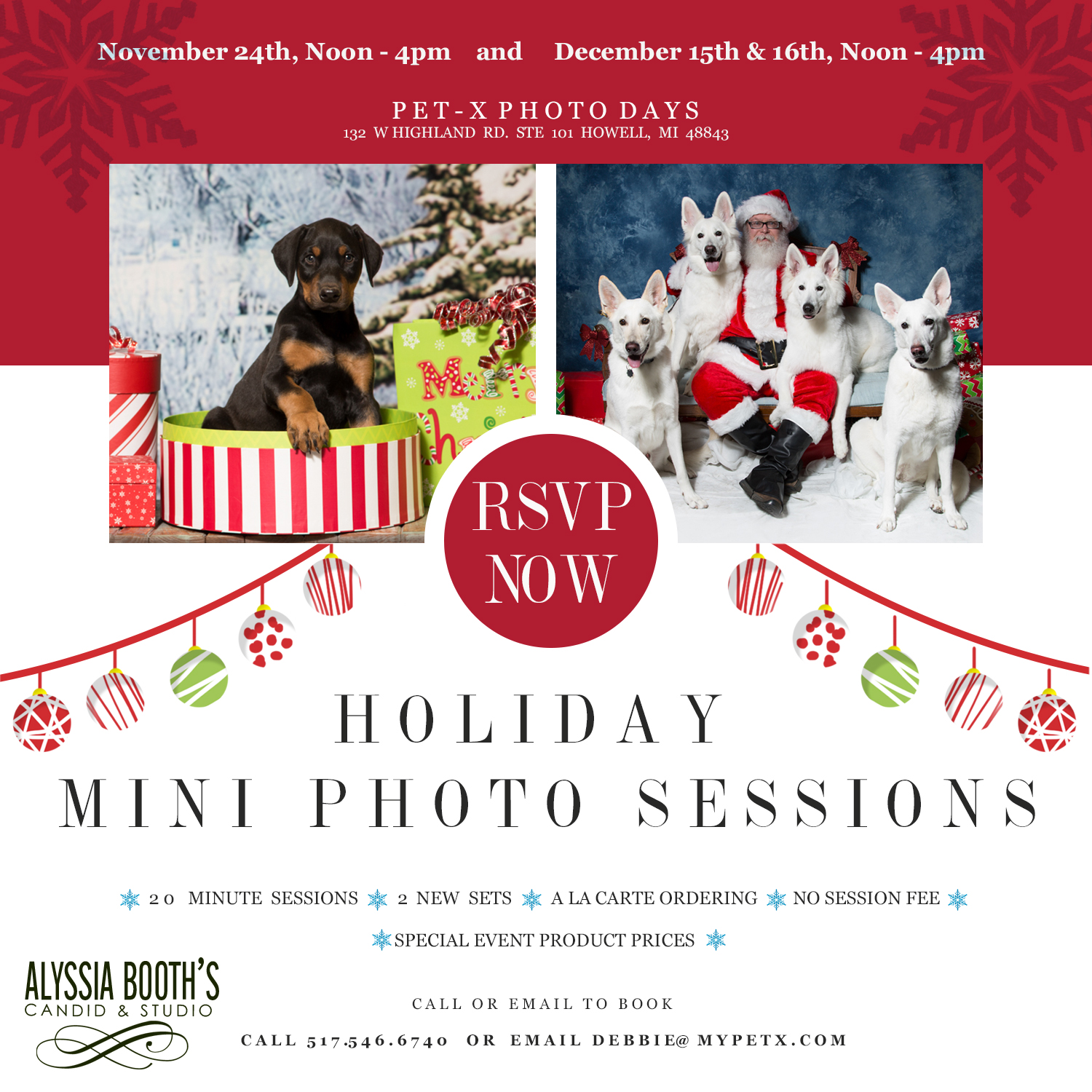 Howell Michigan Santa and Pet Photo Day | www.abcandidstudio.com | PetX Tack & Supplies