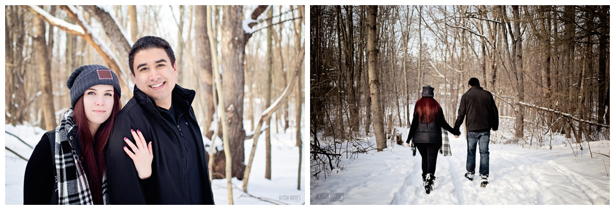 Winter Forrest  Engagement Photoshoot | Michigan Couples Snow Photoshoot | E-Session | Alyssia Booth's Candid & Studio | Michigan Wedding Photographer | www.abcandidstudio.com