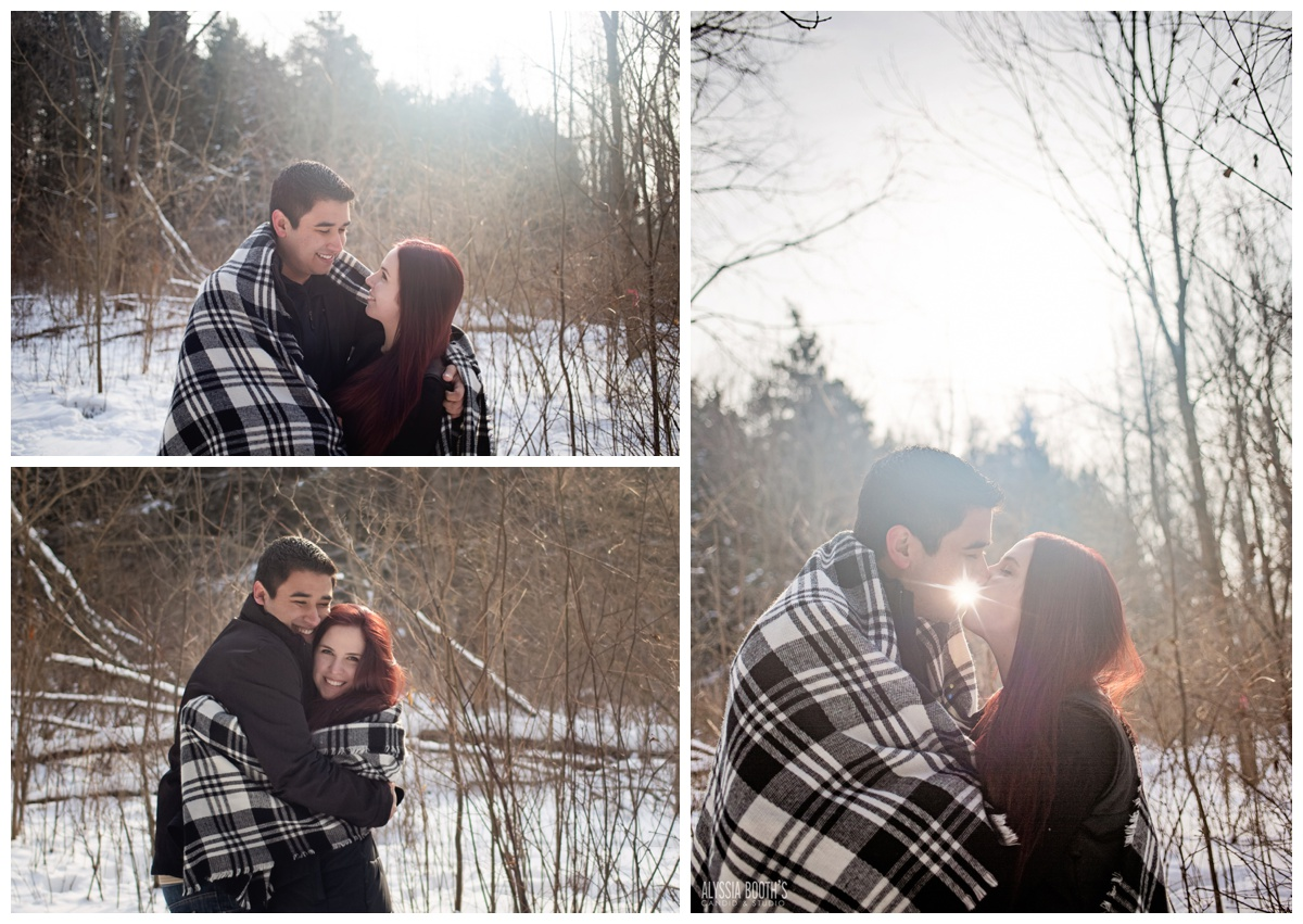 Sunshine | Harris Nature Center | Winter Engagement Photoshoot | Michigan Couples Snow Photoshoot | E-Session | Alyssia Booth's Candid & Studio | Michigan Wedding Photographer | www.abcandidstudio.com