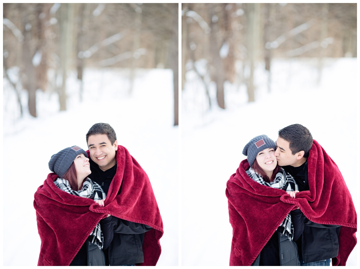 Red Blanket | Winter Engagement Photoshoot | Michigan Couples Snow Photoshoot | E-Session | Alyssia Booth's Candid & Studio | Michigan Wedding Photographer | www.abcandidstudio.com