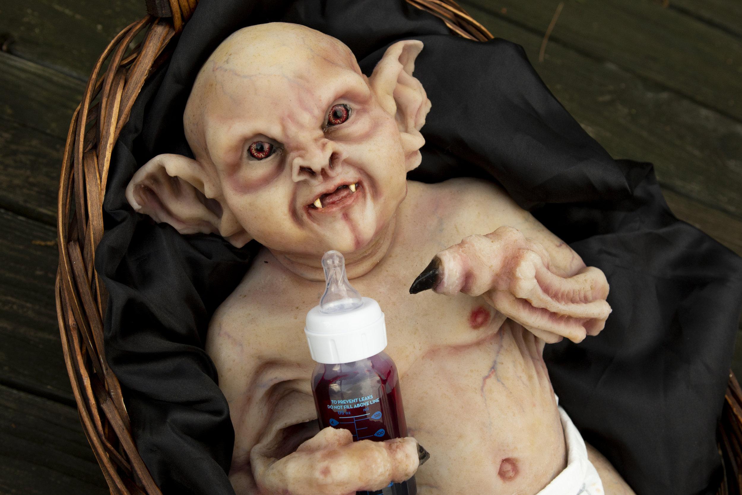 Baby in A Basket  | Newborn Vampire  | Newborn photoshoot | Ravendark Creations Vampire Baby | Newborn Photoshoots | Alyssia Booth's Candid & Studio | www.abcandidstudio.com