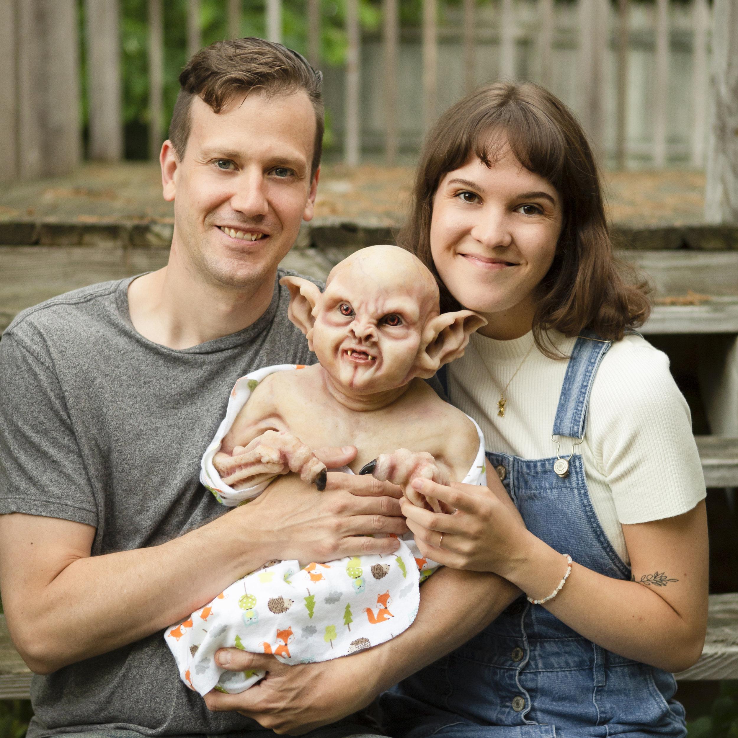 Awkward Family Photos | Newborn Vampire  | Newborn photoshoot | Ravendark Creations Vampire Baby | Newborn Photoshoots | Alyssia Booth's Candid & Studio | www.abcandidstudio.com