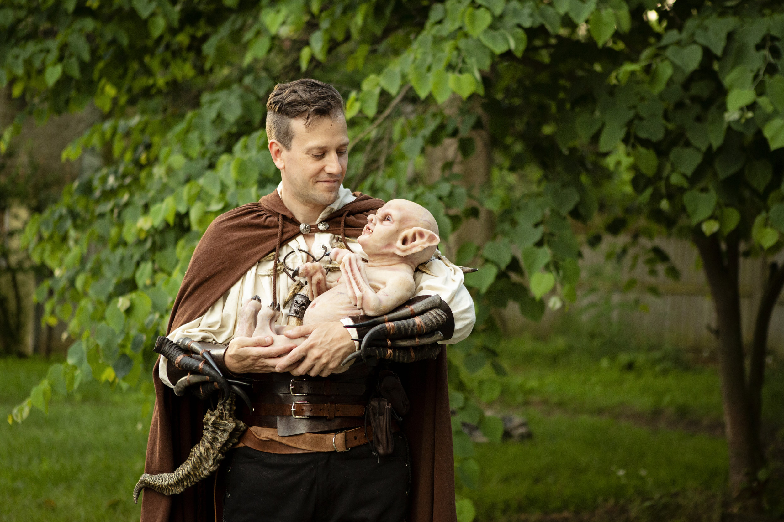 Dad & Baby | Newborn Vampire  | Newborn photoshoot | Ravendark Creations Vampire Baby | Newborn Photoshoots | Alyssia Booth's Candid & Studio | www.abcandidstudio.com