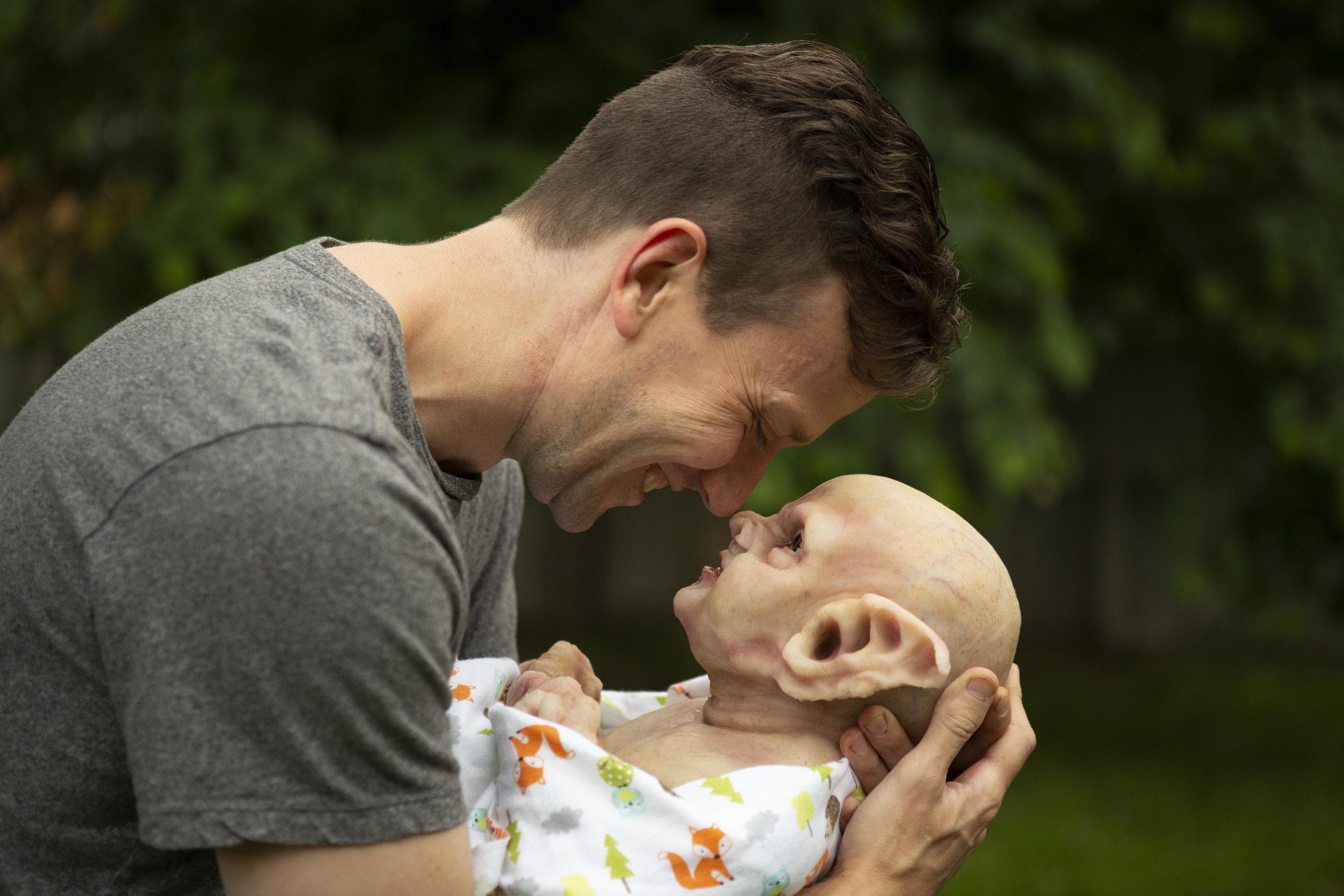 Dad & Newborn Vampire  | Newborn photoshoot | Ravendark Creations Vampire Baby | Newborn Photoshoots | Alyssia Booth's Candid & Studio | www.abcandidstudio.com