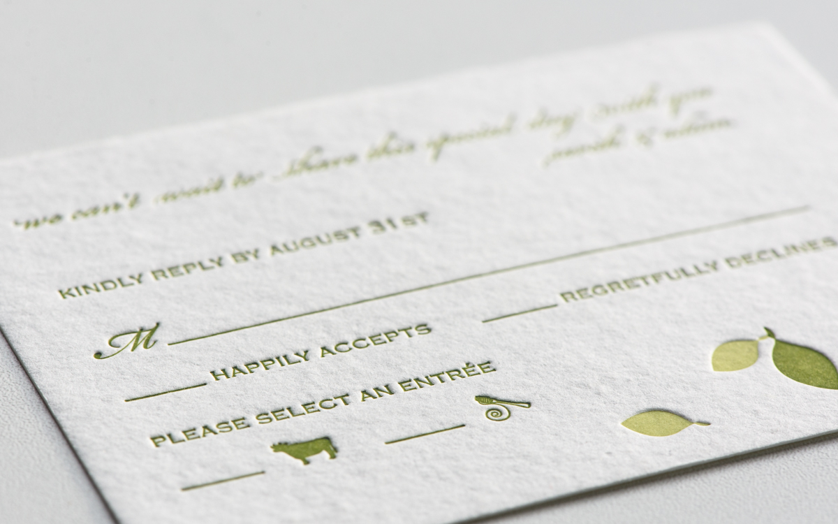 Letterpress wedding invitation rsvp card