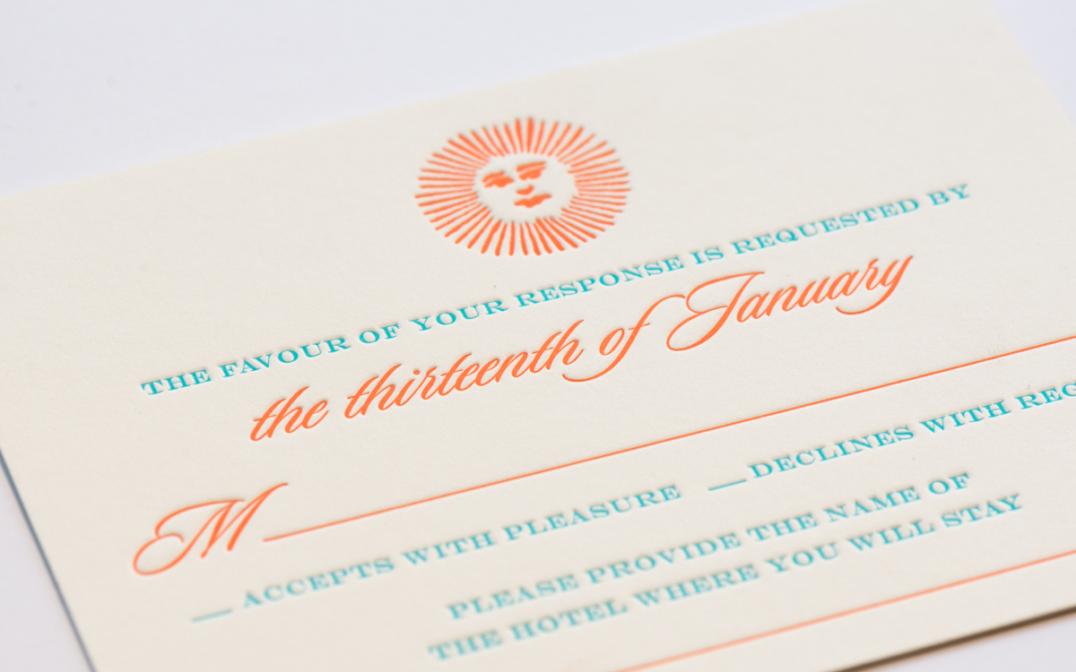 letterpress rsvp wedding cards