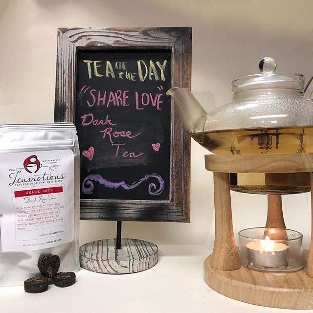 """""""Share Love"""" with our new Dark Rose Tea from @teamotions this Valentine's Day! Dark tea leaves and rose petals pressed into the shape of hearts, with an earthy flavor and delicate rose aroma. This tea is as beautiful as it is delicious! • • • • • #valentinesday2019 #valentine #rosetea #rosepetals #justpaperandtea #washingtondc"""