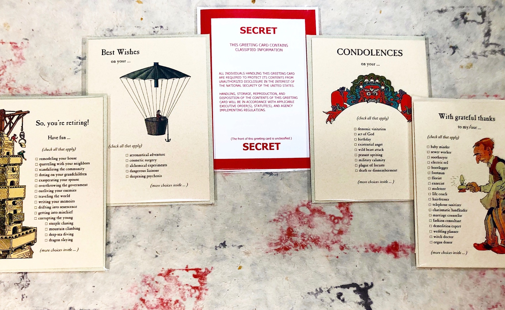 Quirky greeting cards for all occasions by Archelaus.