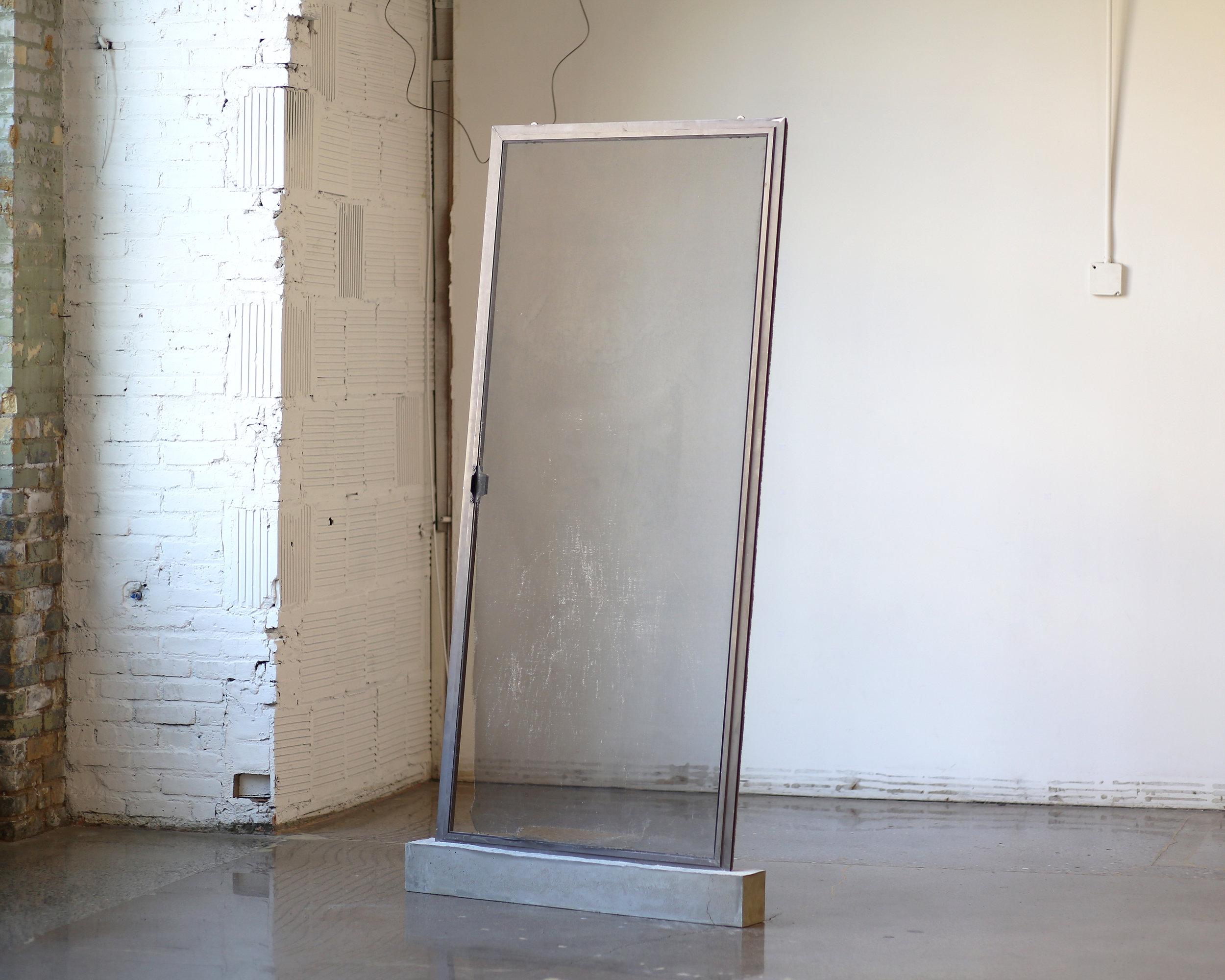 """Untitled  Aluminum sliding door and concrete 85"""" x 43"""" x 5"""" 2018"""