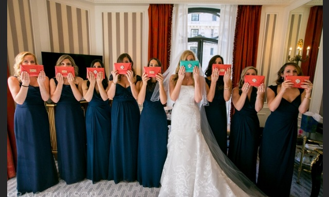 Petite Coral Clutches For Bridesmaids and Turquoise for Bride