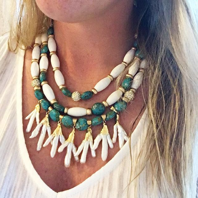 Post beach vibes in our new Siren Necklace #madamemathilde #statementnecklace #playadelcarmen #wethairdontcare