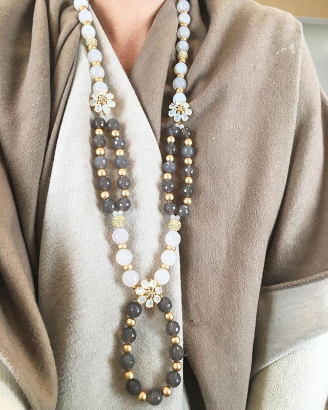 Perfect day for a cape, cashmere and brand new Campbell Necklace in milky gray and white Faceted Agate beads. #springaccessories #springisintheair #madamemathilde #statementnecklace #jotd