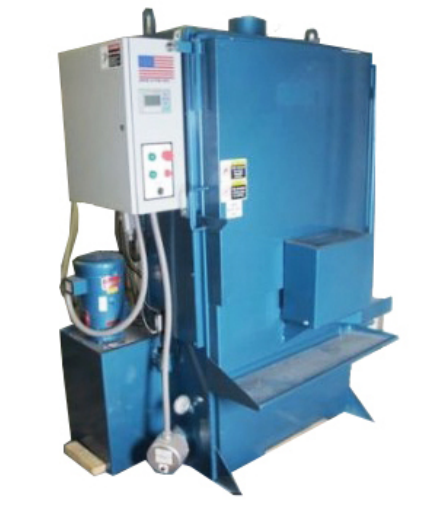 """With a standard 5 hp. Pump, 26"""" dia. turntable, and a 40"""" working height this washer has many more standard and optional features available. Turntable easily handles loads up to 800 lbs.  The model 412 is ideal for commercial rebuilders and larger shops. 5 H.P. pump, 1/15 H.P. turntable gear motor, 12 Kw. electric heat, Insulated cabinet, Electric lockout, 70 gal. reservoir and 5 cu. ft. parts basket standard. The many options available allow the user to custom design the 412 to meet all applications. Contact P.M.W. for information on other available models.   Model 412 & 412ST (Soak Tank) features:    Labyrinth door design  - eliminates the need for troublesome replacement seals.   40"""" work height  - will accept any automotive block, cylinder head or transmission body in todays market.   Door mounted turntable  - Swings out to provide easy access for loading and unloading. 800 lb. capacity turntable.   Other Sizes & Options Available .   Size  - 78""""H x 60""""W x 61""""D   Standard 1500 lbs.    w/Soak Tank, 1700 lbs."""