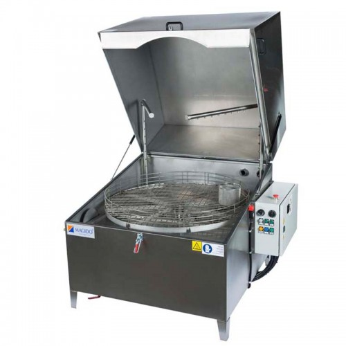 """X-51 & X-81 Automatic Parts Washing Series    Magido X-51 and X-81-Series parts washers are engineered for automatic spray parts washing applications utilizing aqueous detergents at a temperatures of 150°F. The operation principle is based on a rotating platform on which the parts are placed, and a series of angled water jet nozzles, which optimally wash all the areas of the parts needed to be cleaned. X-Series wash systems are mainly categorized by the size and capacity of the turntable with sizes ranging from 14"""" to 55"""" in diameter. All machines are constructed in AISI 304 stainless steel and additional options are available for filtration, rinsing and drying stages."""