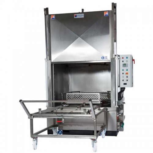 """X-53 Spray Cabinet Series    The X-53-series parts washers are engineered for automatic spray parts washing applications utilizing aqueous detergents at a temperatures of 160°F. The operation principle is based on a fixed platform on which the parts are placed, and a series of angled water jet nozzles that are fixed on a spray ramp optimally wash all the areas of the parts needed to be cleaned. X-53 Series wash systems are mainly categorized by the size and capacity of the turntable with sizes up to 60""""x 60"""" in diameter. The turntable removes easily from the wash system on to a mobile cart for easy loading and unloading. All machines are constructed in AISI 304 stainless steel with additional options available for filtration, rinsing and drying stages."""