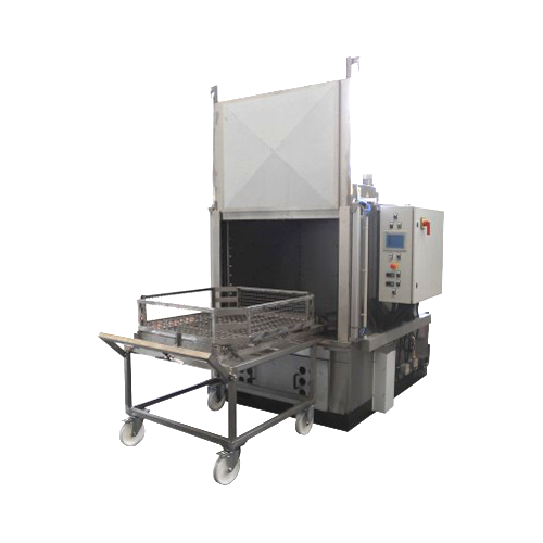 """X53/2   Spray Cabinet Series    Magido X53/2 Series parts washers are engineered for automatic spray parts washing cleaning utilizing aqueous detergents at a temperatures of 160°F. The operation principle is based on a fixed platform on which the parts are placed, and a series of angled water jet nozzles that are fixture on a on a spray ramp optimally wash all the areas of the parts needed to be cleaned. The wash and rinse stages are controlled by PLC control operation that prevent cross contamination in the tanks. X53-2 Series wash systems are mainly categorized by the size and capacity of the turntable with sizes up to 60""""x60"""" in diameter. The turntable removes easily from the wash system on to a mobile cart for easy loading and unloading. All machines are constructed in AISI & 304 stainless steel with additional options available for filtration, rinsing and drying stages."""