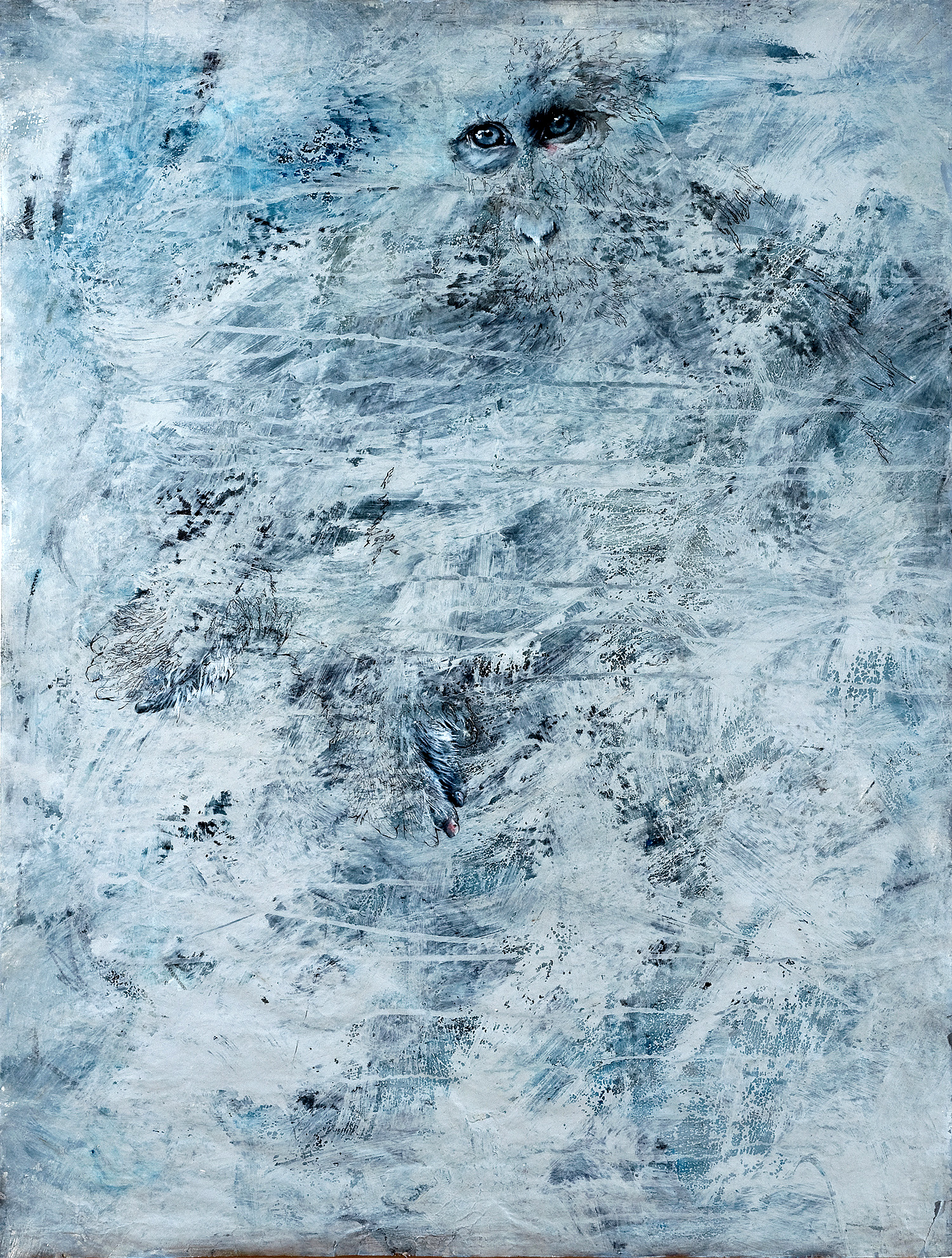 """Blue Line  27 x 36""""  MIxed Media on Paper"""