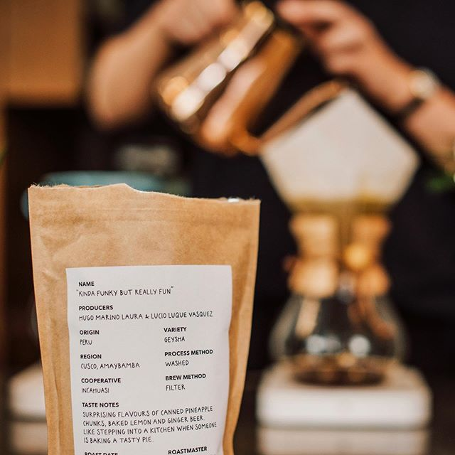 The joy when you get to both design and name a product. Photo by @moosiatko as usual. #graphicdesign #branding #kindafunky #specialtycoffee #handlettering #typography #brand #packaging #packagingdesign #packagingdesigninspo #coffeepackaging #coffeebagdesign