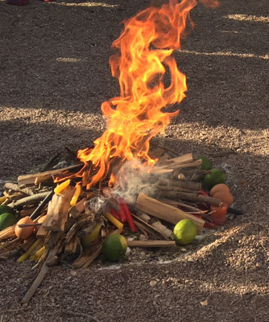 Fuego Sagrado de Los Mayas - Our offerings of Candles, Copal, Chocolate, Rosemary, and Sugar. Eggs and limes are put into the fire by those who have been cleansed by a Limpia and given to the Sacred Fire to take away any pains and illness