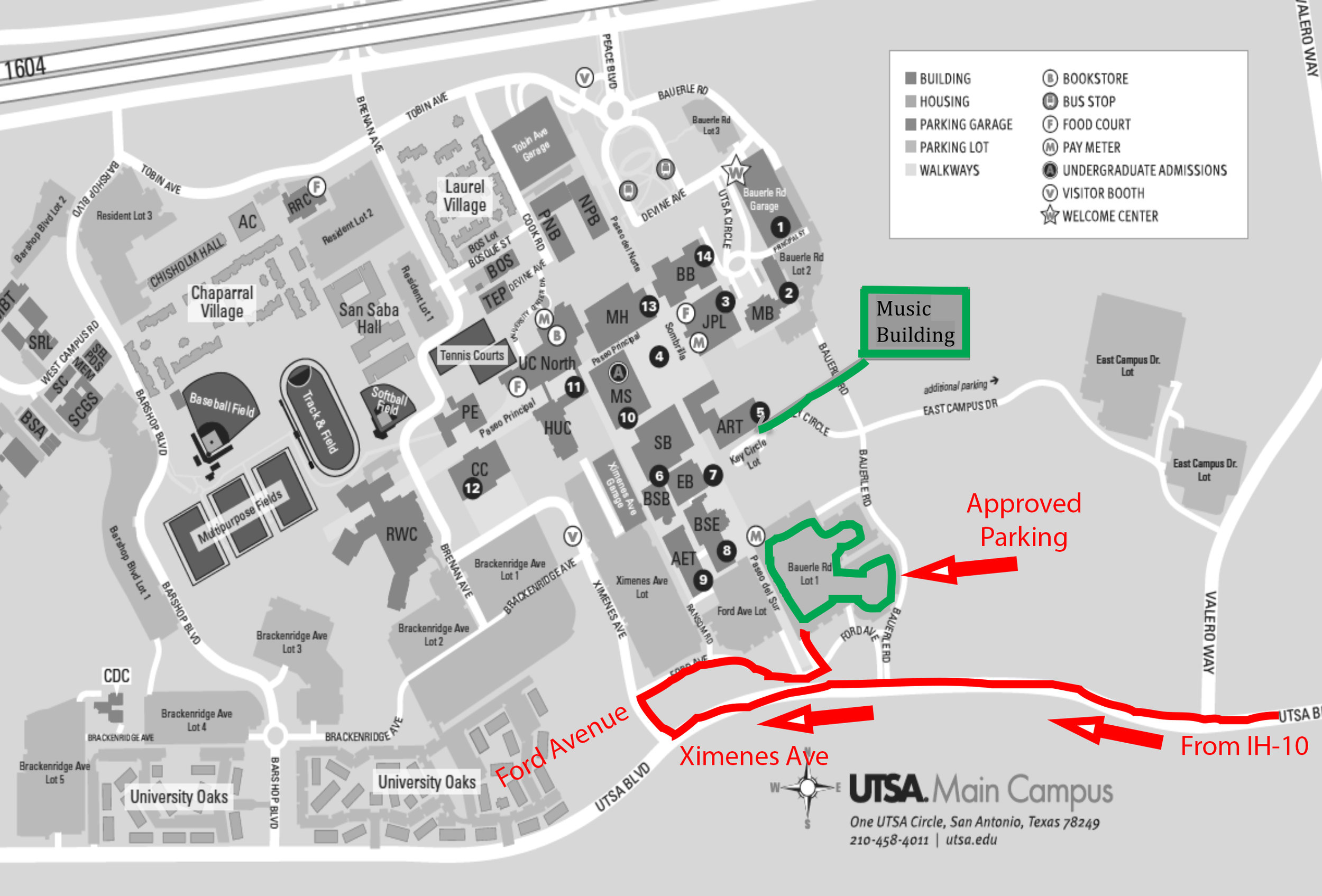 Because the Tosca concert is on a school night, we have been approved for free parking in LOT #1 (south campus, to the east/right of the walkway up the hill).    Guests may park in any unmarked, Faculty A or Faculty B slot, but will be ticketed if they park in the metered parking (unless they pay) or 24-hour Reserved slot (first 3 rows or so).