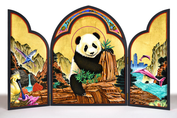Panda Icon Triptych , 36 in. x 23.25 in., Gouache & gold leaf on panel. 2018. Commission for William Lim, Living Collection (Hong Kong, China)