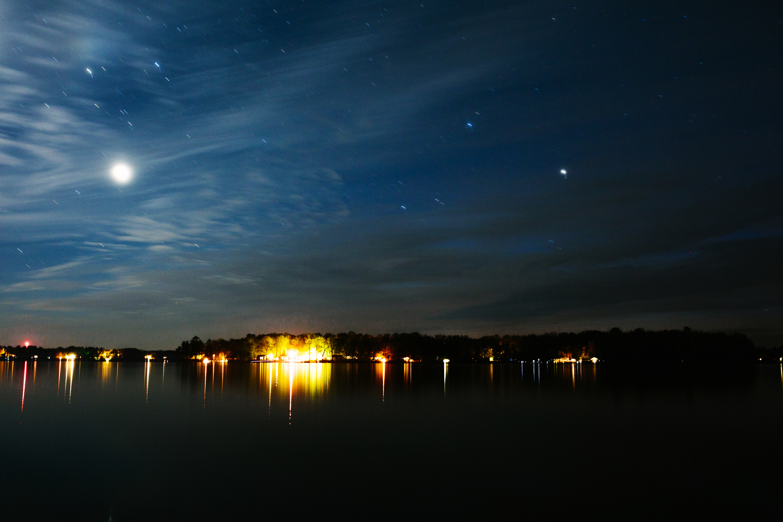 The lake, and some playing around with nighttime photography.