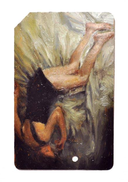 Single Fare 3 , oil on metrocard, 2x3.5in, 2011