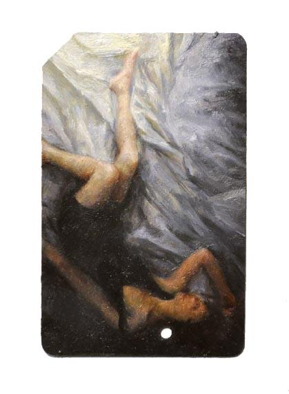 Single Fare 6 , oil on metrocard, 2x3.5in, 2011