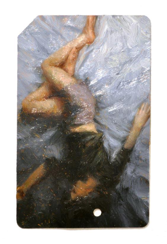 Single Fare 5 , oil on metrocard, 2x3.5in, 2011