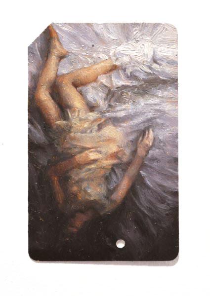 Single Fare 8 , oil on metrocard, 2x3.5in, 2011