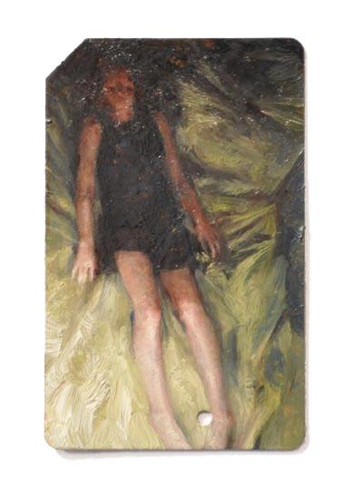 Single Fare 10 , oil on metrocard, 2x3.5in, 2011
