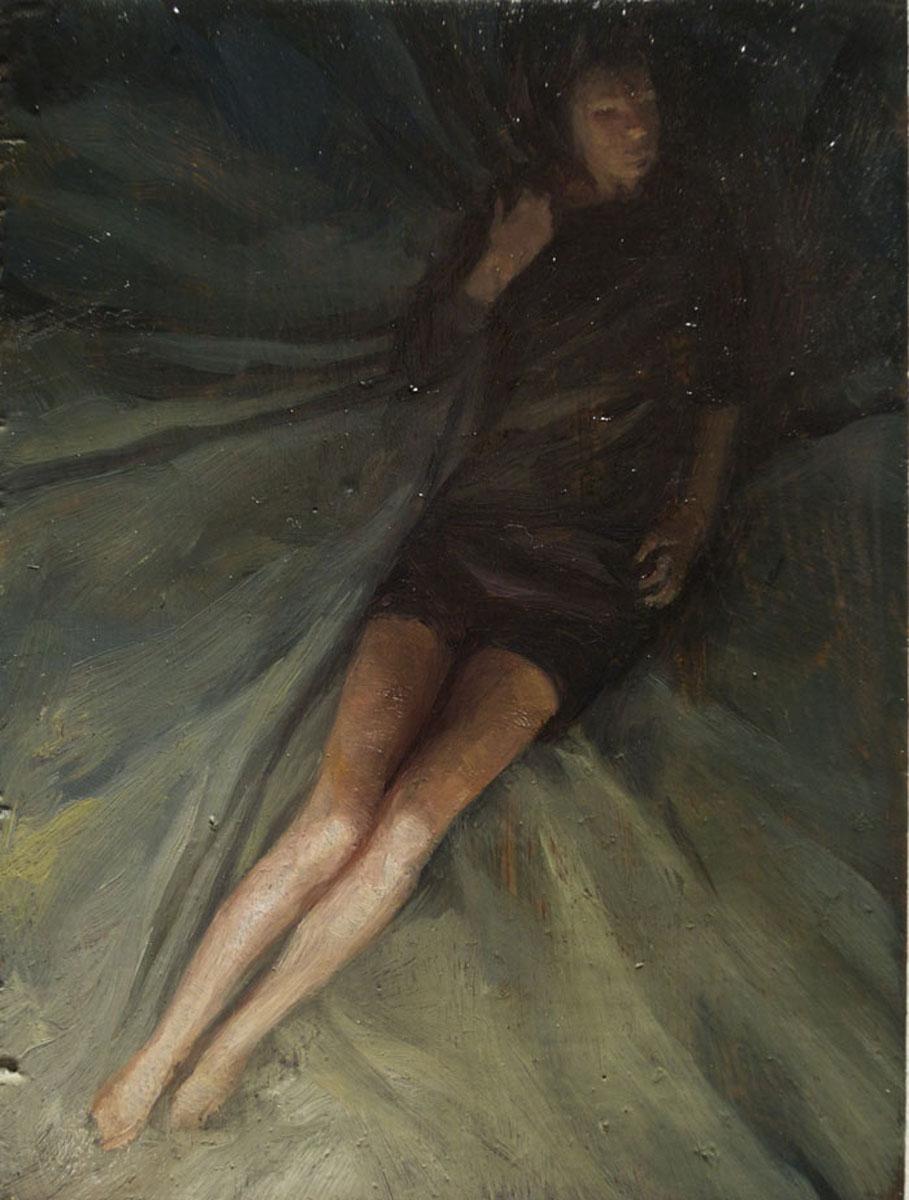 Sleeper 5 , oil on board, 4x2.5in, 2012