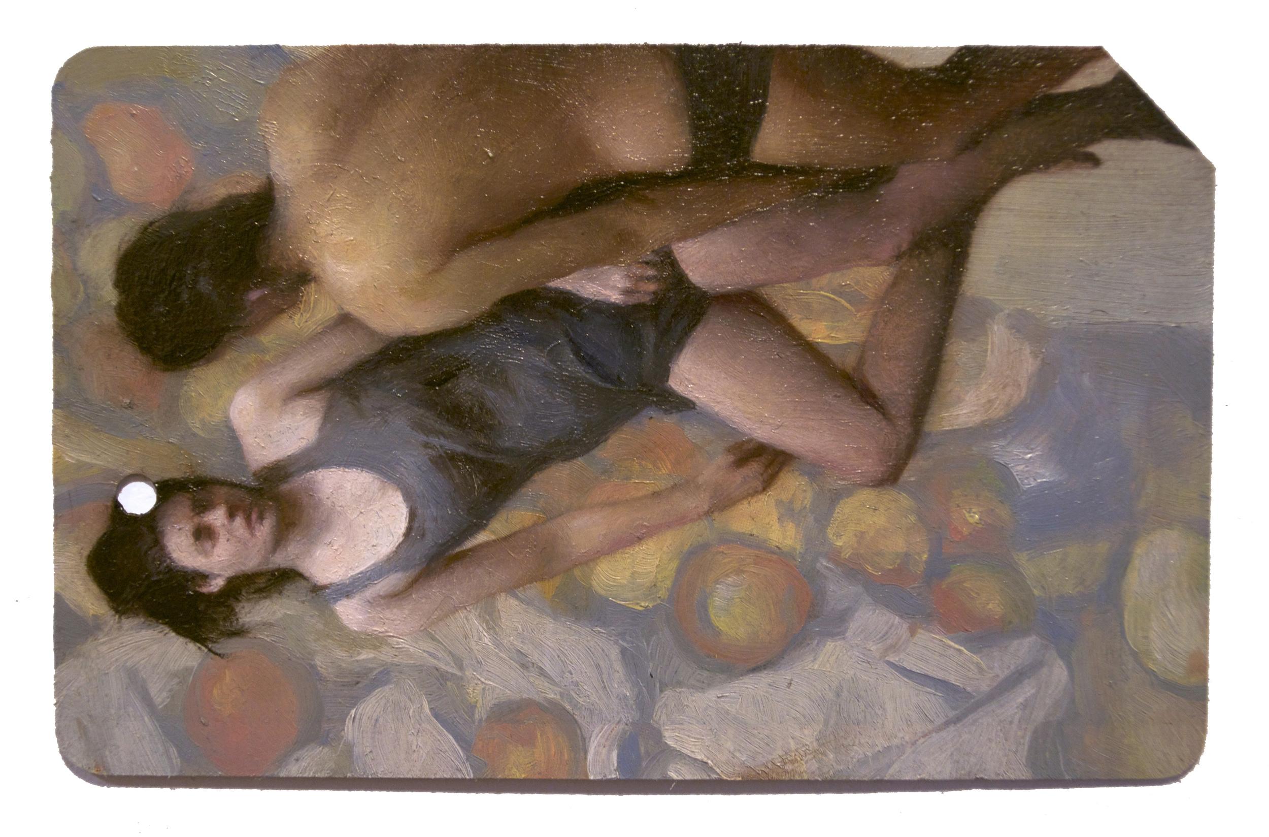 Tendidos 3 (Single Fare) , oil on metrocard, 2x3.5in, 2013