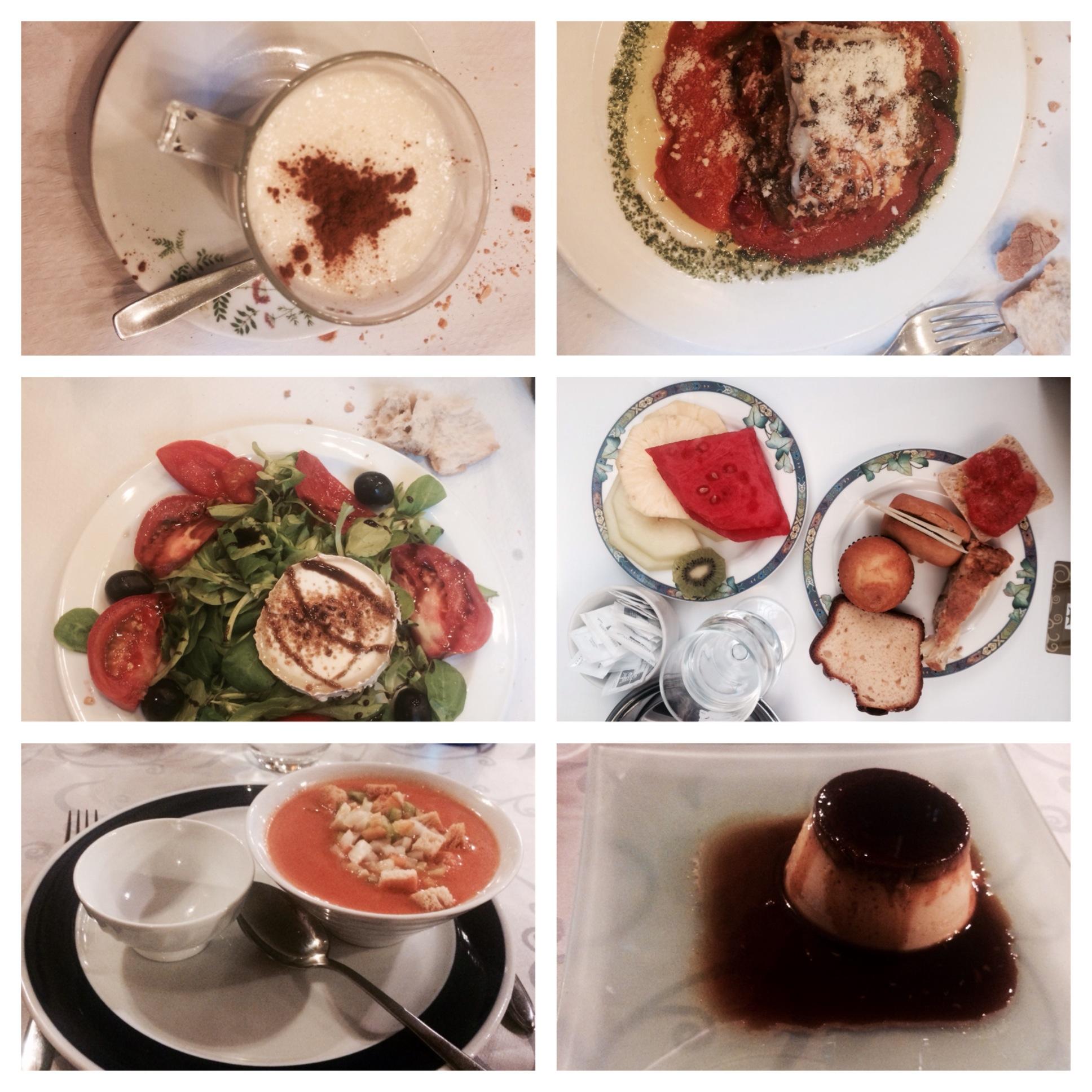 Arroz con leche, lasagna, e nsalada de queso de cabra , flan, gazpacho- it was all delicious and beautiful!