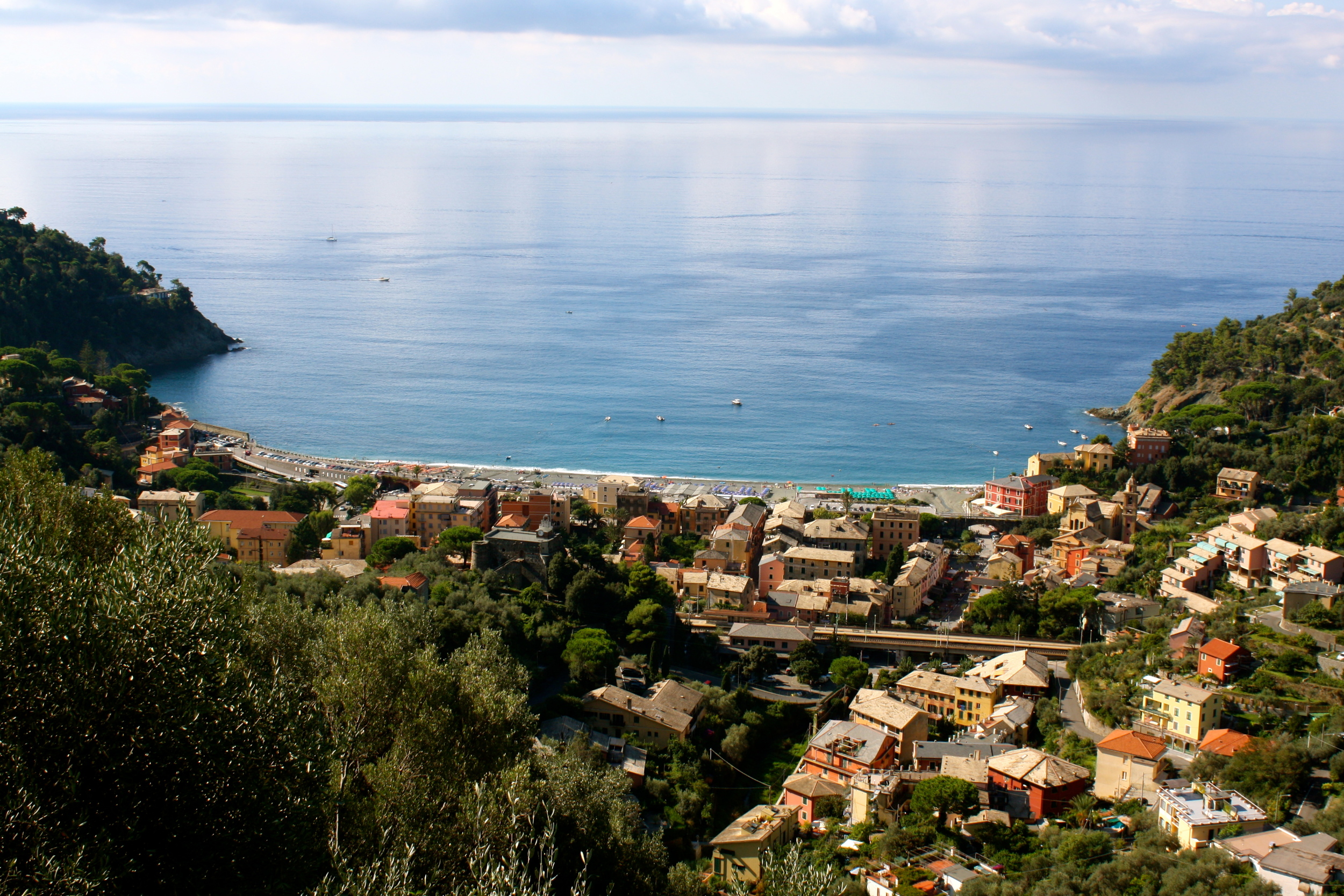 Bonassola, the town where we stayed while visiting the Cinque Terre. Our rooms were in the bottom middle of the picture.