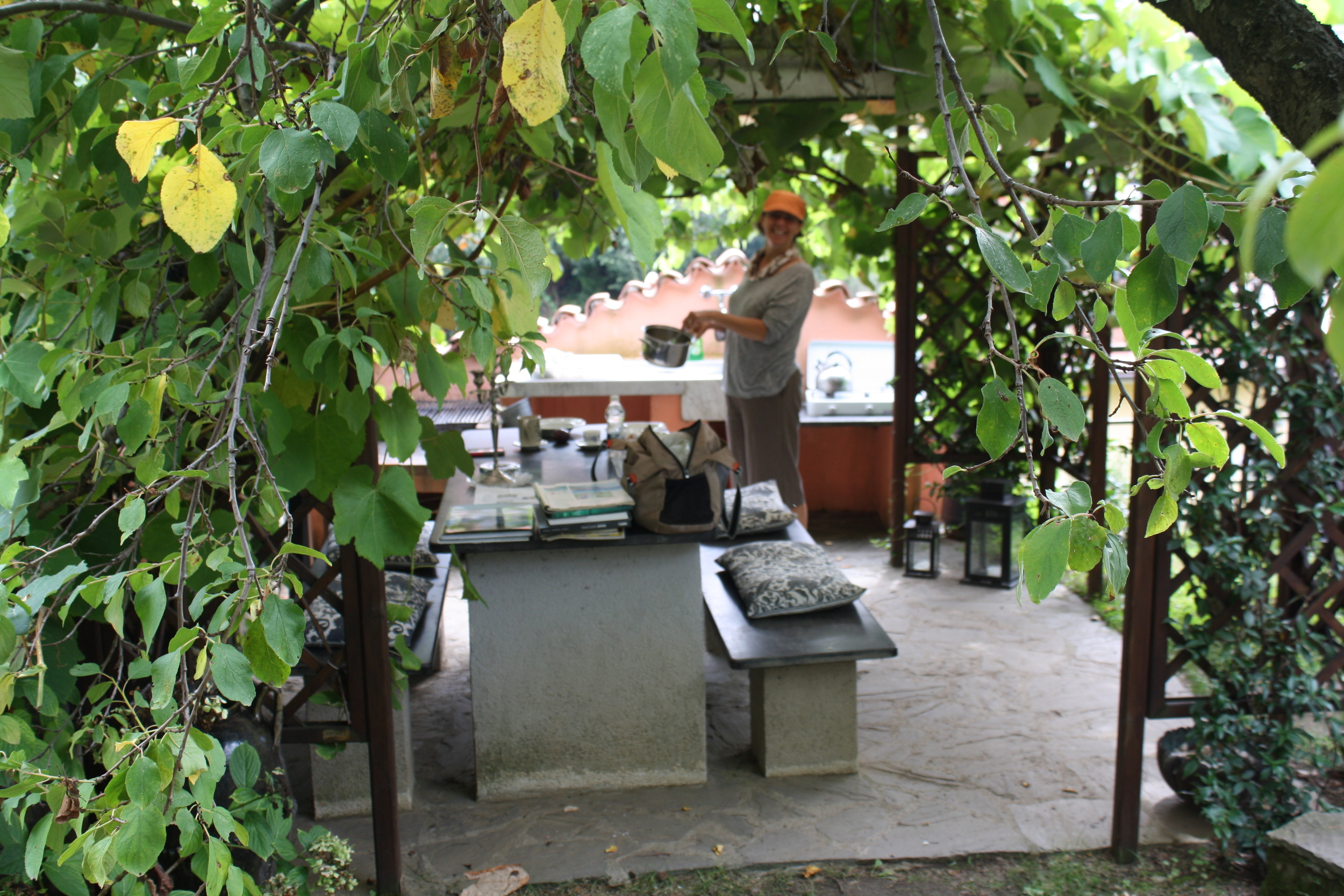 We had a little outdoor kitchen with a table to cook on.