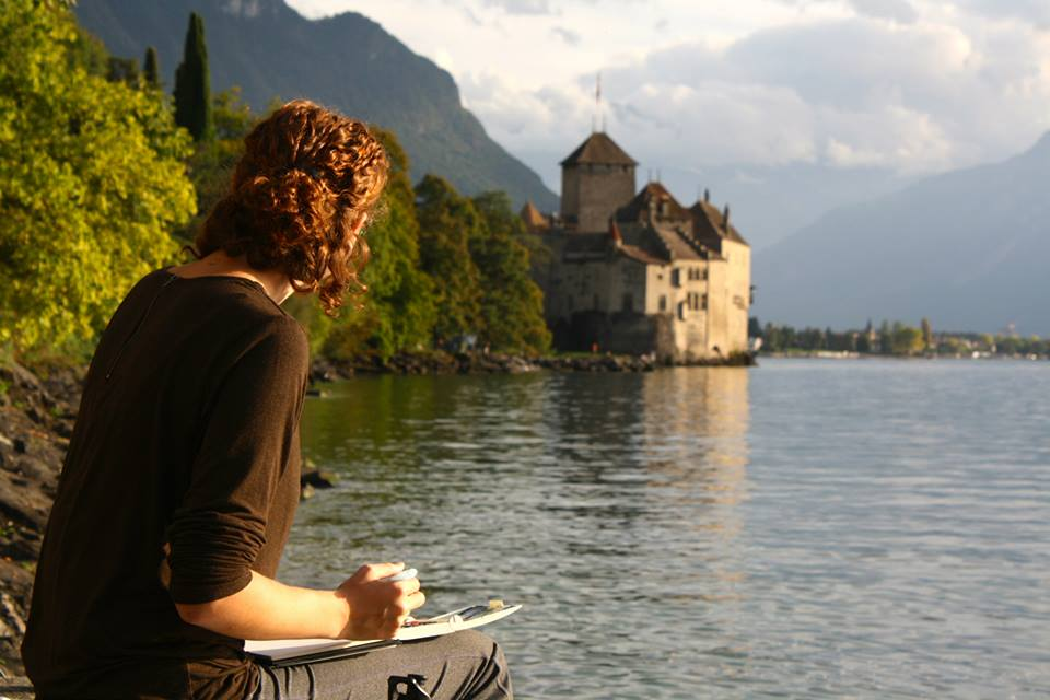 My mom snapped a shot of me painting Chateau de Chillon.