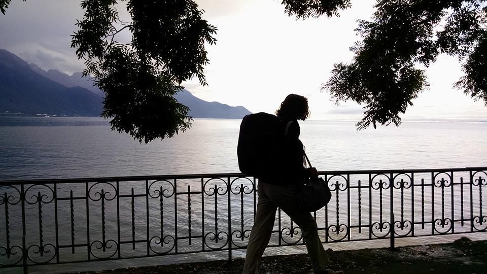 Walking to the train station along Lake Geneva.