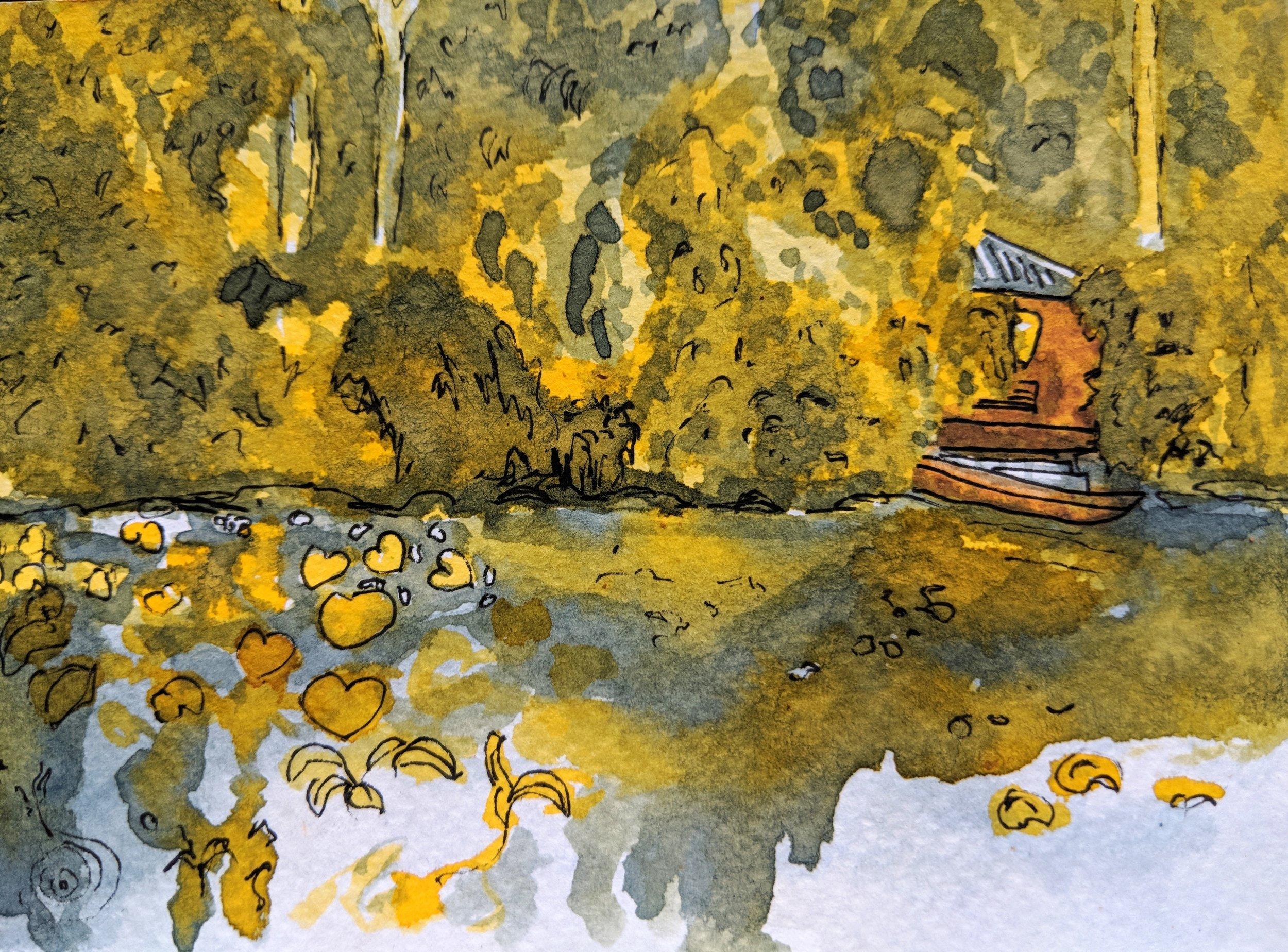 Dragon Pool near Lijiang painted with indigo dye, gardenia dye, soil and pen.