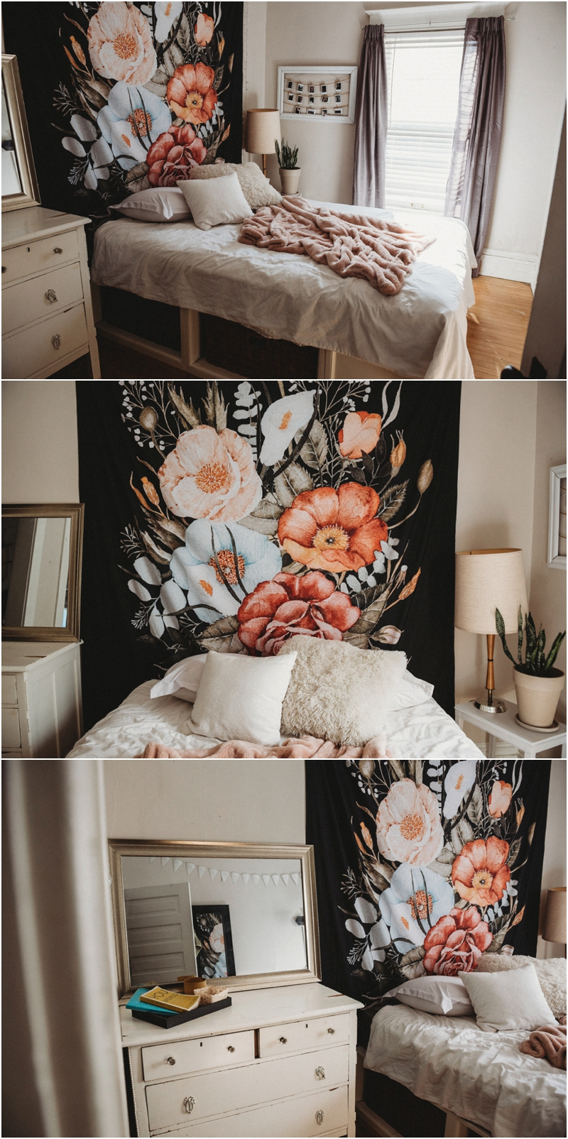 I will also continue using my own room for sessions (not as much, but it will give a nice variety to galleries!) So I figured I would show that too. I just got this awesome tapestry from society 6 and I can't wait to get a client in front of it!