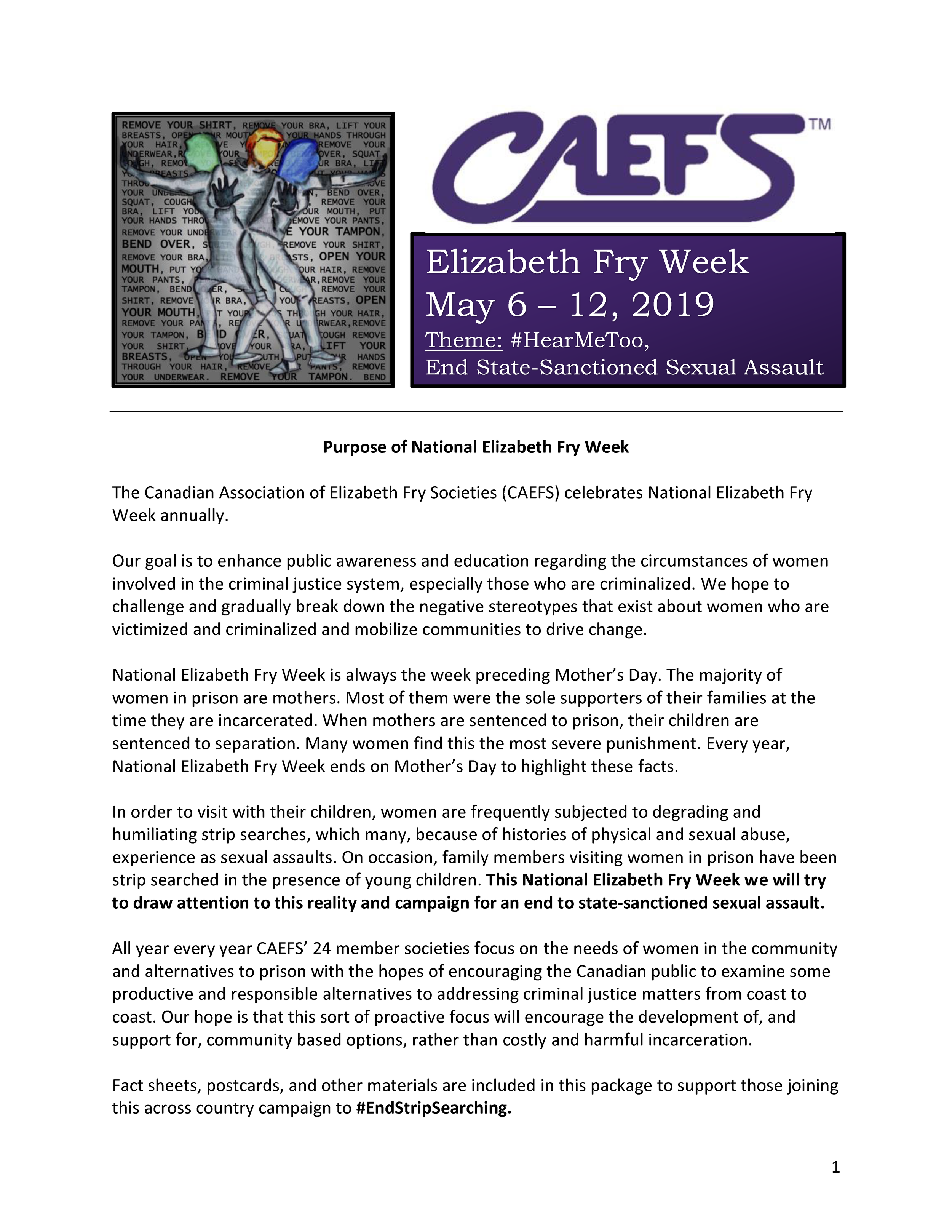 CAEFS Elizabeth Fry Week May 6-12/19