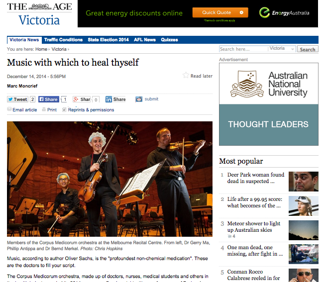 """Music with which to heal thyself""  December 14, 2014  The Age"