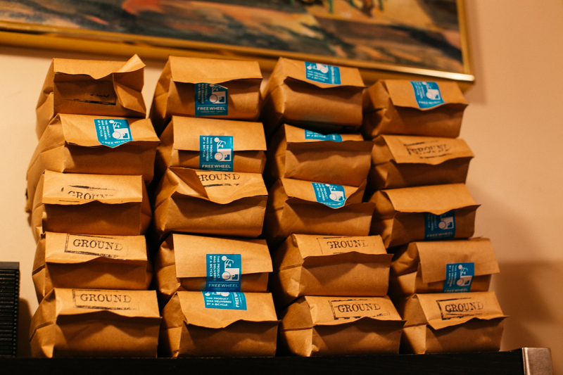 Beans line the shelves of Pike Place's Ghost Alley Espresso shop.