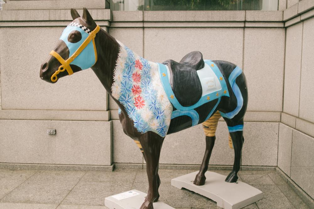 One of the city's many decorative horses